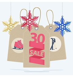 Sale labels for a Christmas sport sale vector image