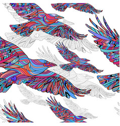 Seamless pattern of hand-drawn crows with ethnic vector