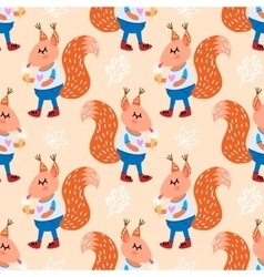 Seamless pattern with cute squirrel vector