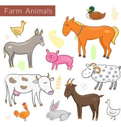 Set of different colorful farm animals vector