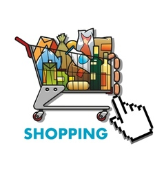 Shopping cart with groceries vector image vector image