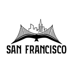 Skyline of san francisco and seagull design vector