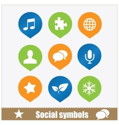 social symbols web media set vector image