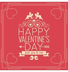 Valentines day border vintage poster background vector