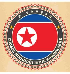 Vintage label cards of north korea flag vector