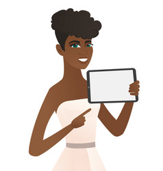 Young african fiancee holding tablet computer vector