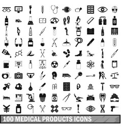 100 medical products icons set simple style vector