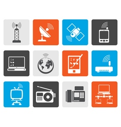 Flat communication and technology icons vector