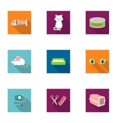 Cat equipment set icons in flat style big vector