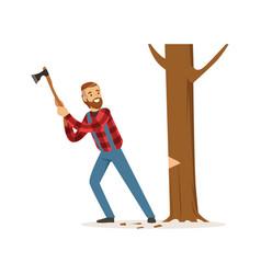 Lumberjack man in a red checkered shirt cutting vector