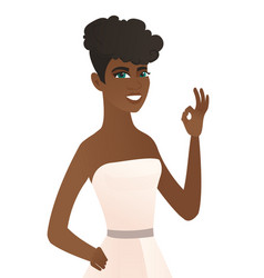 Young african-american fiancee showing ok sign vector