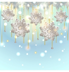 Christmas card with silver snowflakes decoration vector