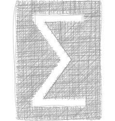 Sigma sum sign - freehand symbol vector