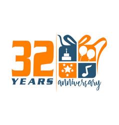 32 year gift box ribbon anniversary vector