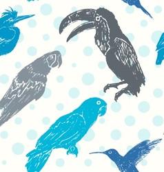 Ink hand drawn birds seamless pattern vector image