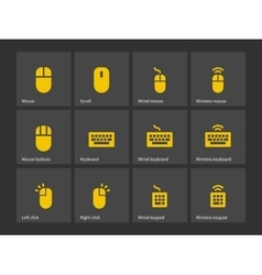 Desktop computer mouse and keyboard icons vector