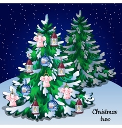 Christmas winter snowy tree with ornaments forest vector