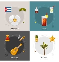 Cuba 4 flat icons square composition vector