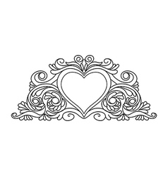 Floral heart frame for design vector
