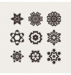 Set of ornate mandala symbols gothic lace vector