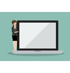 Business woman pointing to the screen of a laptop vector