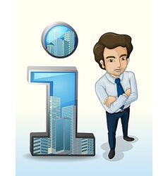 A businessman standing beside the buildings inside vector
