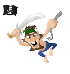 a pirate on a rope vector image vector image