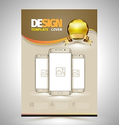 Abstract Poster Template with smartphones vector image vector image