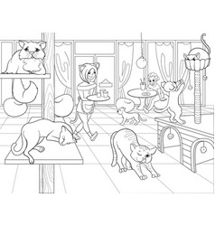 beautiful interior of modern cat cafe for people vector image