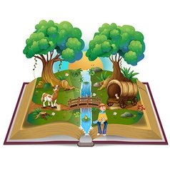 Book about magical forest vector