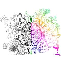 Brain hemispheres sketchy doodles vector