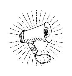 Bullhorn or megaphone loudspeaker hand drawn vector