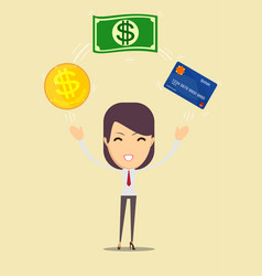 business woman displaying a money and cash card vector image vector image