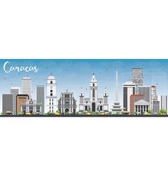 Caracas skyline with gray buildings and blue sky vector