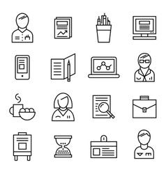 Coworking line icon set vector
