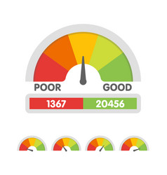 Credit score gauge speedometer icon in flat style vector