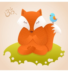 Cute fox sitting in yoga lotus pose and relaxing vector image vector image