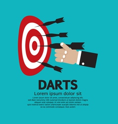 Dartboard with darts in hand vector