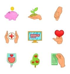Donation icons set cartoon style vector