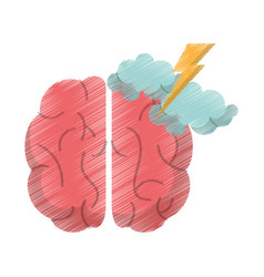 drawing brain idea brianstorm innovation vector image vector image