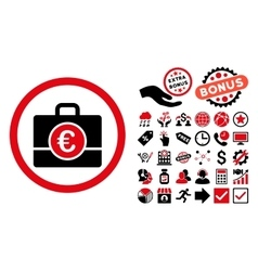 Euro Accounting Case Flat Icon with Bonus vector image vector image
