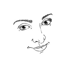 Facial expression hand-drawn of face of delicate g vector