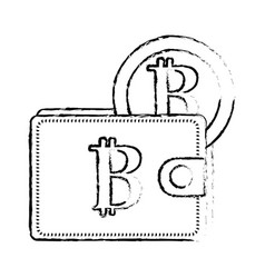 Figure bitcoin symbon in the wallet with coin vector