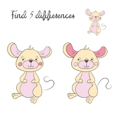 Find differences kids layout for game mouse vector image vector image
