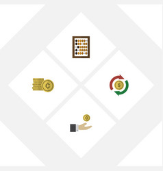 flat gain set of hand with coin counter vector image
