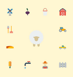 Flat icons storehouse grain grower and other vector