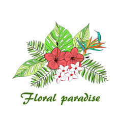 floral tropical leaves vector image