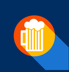 Glass of beer sign white icon on tangelo vector