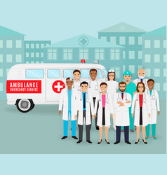 group of doctors and nurses and retro ambulance vector image vector image