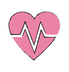 heart beat healthy sport care symbol vector image